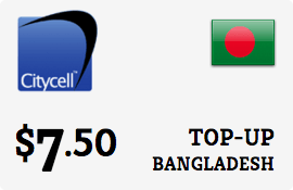 $7.50 CityCell Bangladesh Prepaid Wireless Top-Up