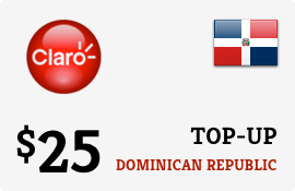 $25.00 Claro Dominican Republic Prepaid Wireless Top-Up