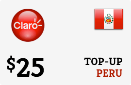 $25.00 Claro Peru Prepaid Wireless Top-Up