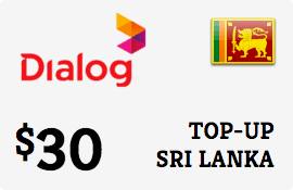 $30.00 Dialog Axiata Sri Lanka Prepaid Wireless Top-Up