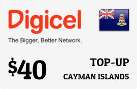 $40.00 Digicel Cayman Islands Prepaid Wireless Top-Up
