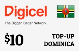$10.00 Digicel Dominica Prepaid Wireless Top-Up