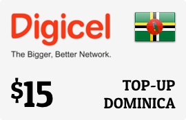 $15.00 Digicel Dominica Prepaid Wireless Top-Up