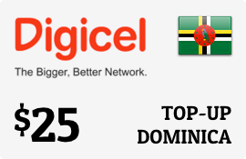 $25.00 Digicel Dominica Prepaid Wireless Top-Up