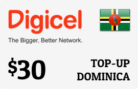 $30.00 Digicel Dominica Prepaid Wireless Top-Up
