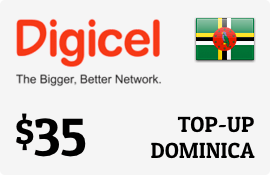 $35.00 Digicel Dominica Prepaid Wireless Top-Up