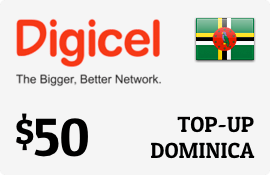 $50.00 Digicel Dominica Prepaid Wireless Top-Up