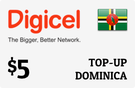 $5.00 Digicel Dominica Prepaid Wireless Top-Up