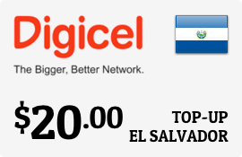 $20.00 Digicel El Salvador Prepaid Wireless Top-Up