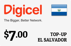 $7.00 Digicel El Salvador Prepaid Wireless Top-Up