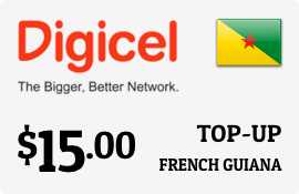 $15.00 Digicel French Guiana Prepaid Wireless Top-Up