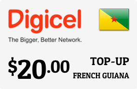 $20.00 Digicel French Guiana Prepaid Wireless Top-Up