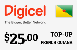 $25.00 Digicel French Guiana Prepaid Wireless Top-Up