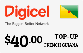 $40.00 Digicel French Guiana Prepaid Wireless Top-Up