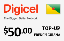 $50.00 Digicel French Guiana Prepaid Wireless Top-Up