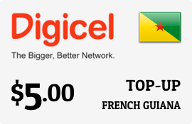 $5.00 Digicel French Guiana Prepaid Wireless Top-Up