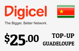 $25.00 Digicel Guadeloupe Prepaid Wireless Top-Up