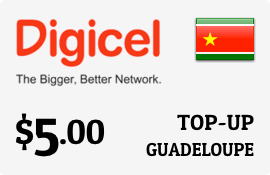 $5.00 Digicel Guadeloupe Prepaid Wireless Top-Up