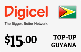 $15.00 Digicel Guyana Prepaid Wireless Top-Up