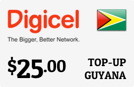 $25.00 Digicel Guyana Prepaid Wireless Top-Up