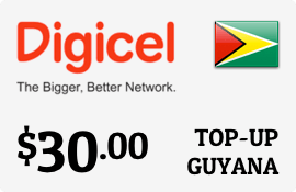 $30.00 Digicel Guyana Prepaid Wireless Top-Up