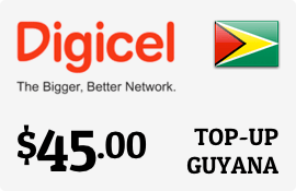 $45.00 Digicel Guyana Prepaid Wireless Top-Up