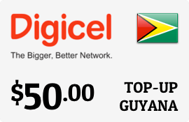 $50.00 Digicel Guyana Prepaid Wireless Top-Up