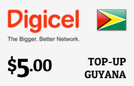 $5.00 Digicel Guyana Prepaid Wireless Top-Up