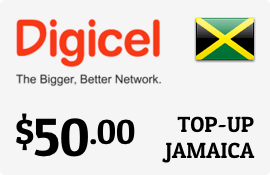 $50.00 Digicel Jamaica Prepaid Wireless Top-Up