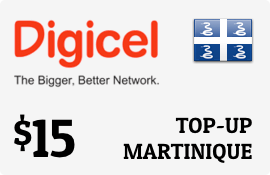 $15.00 Digicel Martinique Prepaid Wireless Top-Up