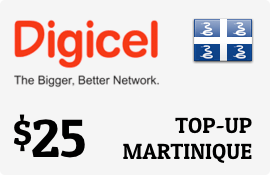 $25.00 Digicel Martinique Prepaid Wireless Top-Up