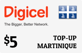 $5.00 Digicel Martinique Prepaid Wireless Top-Up