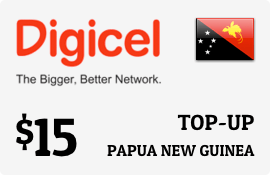 $15.00 Digicel Papua New Guinea Prepaid Wireless Top-Up