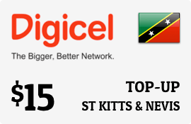 $15.00 Digicel St Kitts & Nevis Prepaid Wireless Top-Up