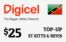 $25.00 Digicel St Kitts & Nevis Prepaid Wireless Top-Up