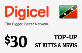 $30.00 Digicel St Kitts & Nevis Prepaid Wireless Top-Up