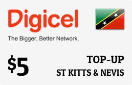 $5.00 Digicel St Kitts & Nevis Prepaid Wireless Top-Up