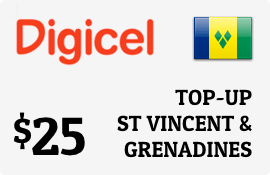 $25.00 Digicel St Vincent & Grenadines Prepaid Wireless Top-Up