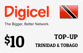 $10.00 Digicel Trinidad & Tobago Prepaid Wireless Top-Up