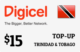 $15.00 Digicel Trinidad & Tobago Prepaid Wireless Top-Up