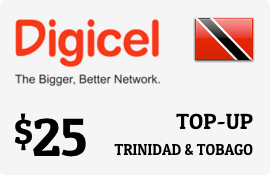 $25.00 Digicel Trinidad & Tobago Prepaid Wireless Top-Up