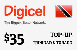 $35.00 Digicel Trinidad & Tobago Prepaid Wireless Top-Up