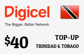 $40.00 Digicel Trinidad & Tobago Prepaid Wireless Top-Up