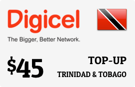 $45.00 Digicel Trinidad & Tobago Prepaid Wireless Top-Up