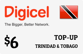 $6.00 Digicel Trinidad & Tobago Prepaid Wireless Top-Up