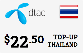 $22.50 DTAC Thailand Prepaid Wireless Top-Up