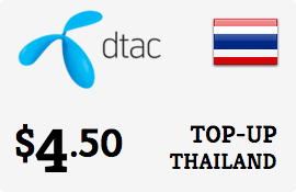 $4.50 DTAC Thailand Prepaid Wireless Top-Up
