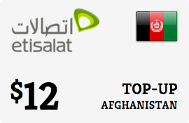 $12.00 Etisalat Afghanistan Prepaid Wireless Top-Up