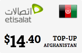 $14.40 Etisalat Afghanistan Prepaid Wireless Top-Up