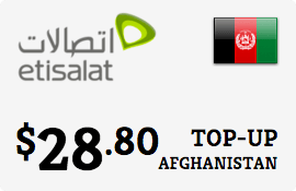 $28.80 Etisalat Afghanistan Prepaid Wireless Top-Up